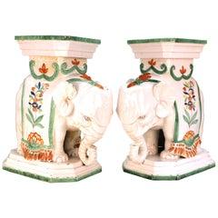 Italian Hollywood Regency Elephant Ceramic Garden Stools or Pedestals