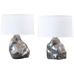 J Schatz Studio 2018 Platinum Amorphous Table Lamp Pair - Modern, One Of A Kind