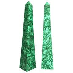 Pair of Malachite Veneered Obelisk Points