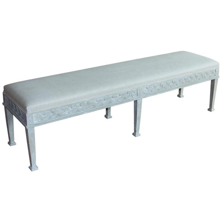 Vintage Gustavian Style Upholstered Bench