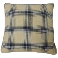 "Blue and Natural ""Royal Plaid"" Woven Two-Sided Decorative Pillow"