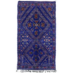 Vintage Berber Moroccan Rug with Tribal Style, Blue Indigo Beni Mguild Carpet