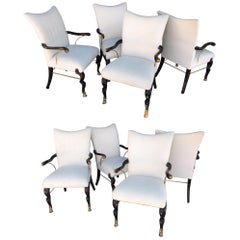 Set of 8 Vintage Hollywood Regency Custom Dining Chairs from Steve Chase Estate