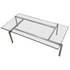 Poul Kjaerholm PK66 Style Glass Coffee Table, 1960s