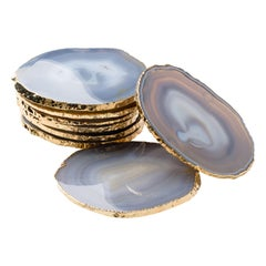 Set of Eight Semi-Precious Gemstone Coasters Grey Agate Wrapped in 24-Karat Gold