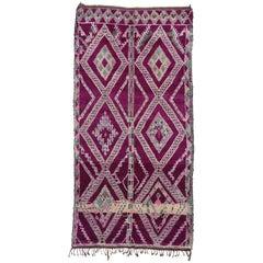 Vintage Berber Moroccan Rug with Tribal Style, Magenta Purple Beni Mguild Rug