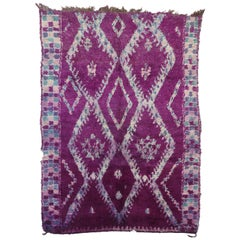 Vintage Purple Beni M'Guild Moroccan Rug with Tribal Style, Berber Moroccan Rug