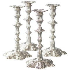 Exceptional Set of Four Silver Candlesticks London 1757 by William Cafe
