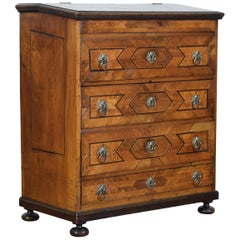 Italian Louis XIV Period Walnut and Inlaid Four-Drawer Commode, circa 1725