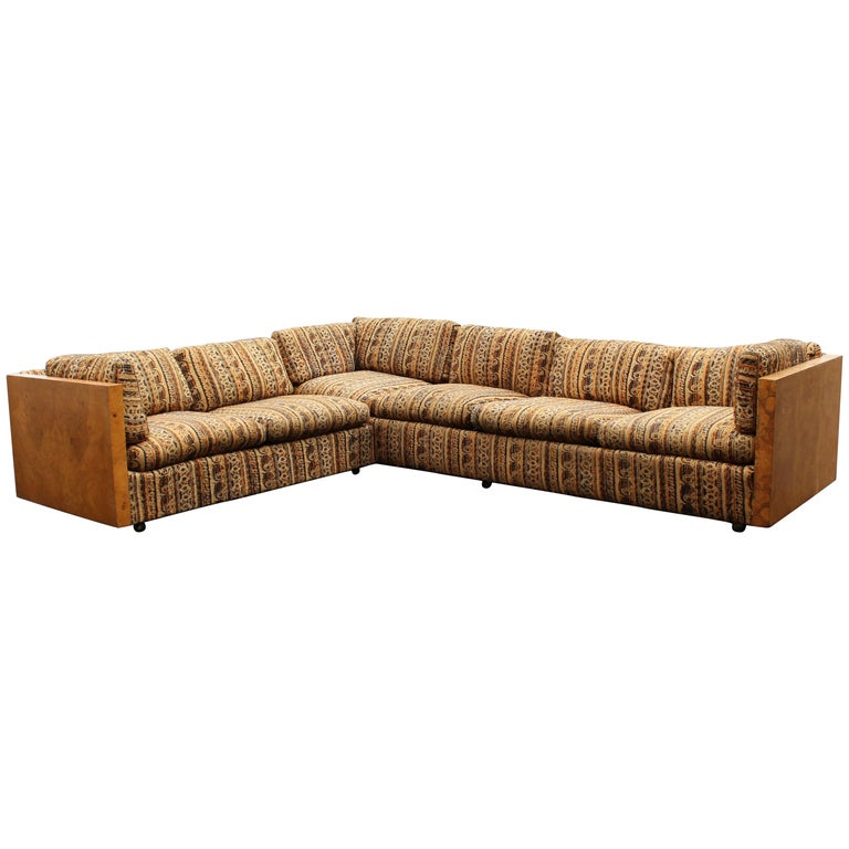 Mid-Century Modern Milo Baughman Burl Wood Sided Two-Piece Long Sectional Sofa