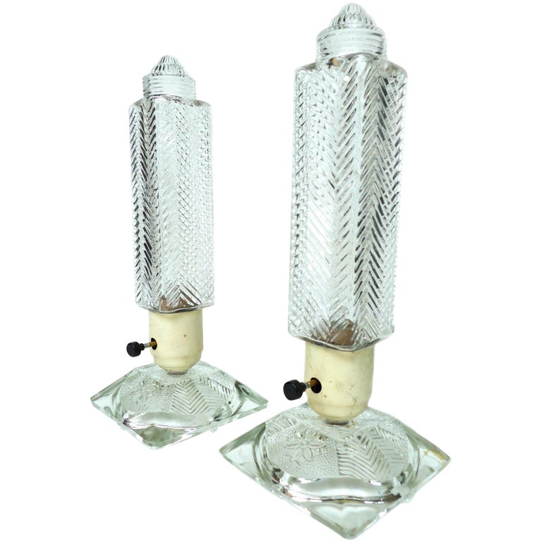 Pair of 1930s Art Deco Glass Lamps
