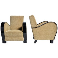 Hungarian Club Chair with Stained Beach Wood Armrest