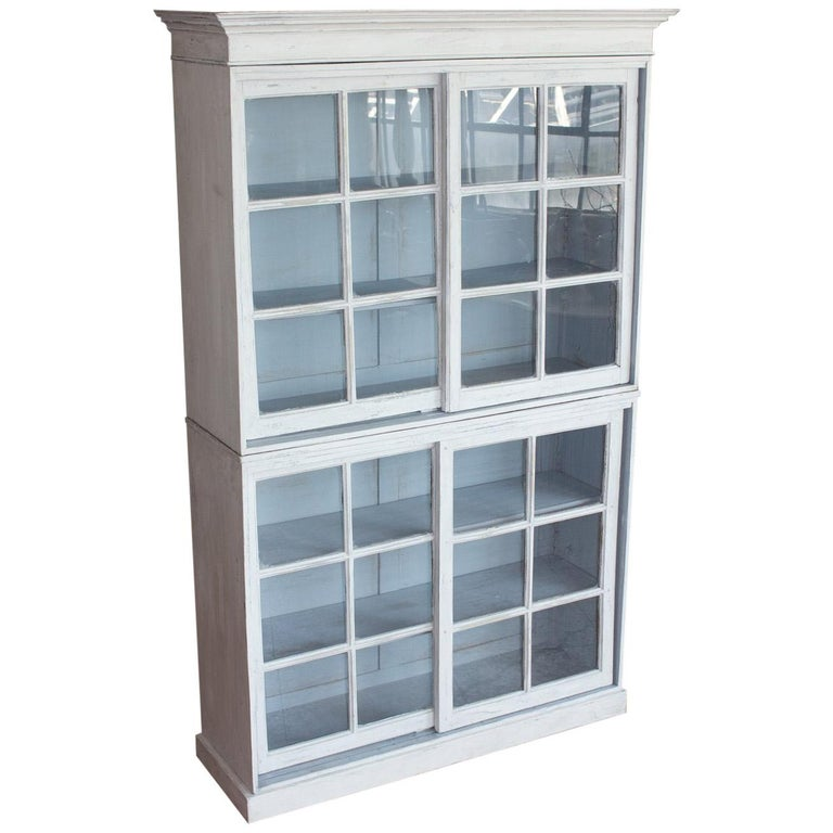 Substantial English Glazed Bookcase or Cabinet