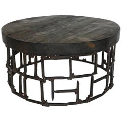 Round Vintage Railroad Spike Coffee Table