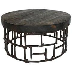 Round Vintage Railroad Spike Coffee Table