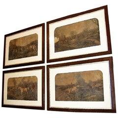 Set of Four Original Engravings of Hunting Scenes by John Frederick Herring Snr