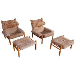 Pair of Arne Norell Easy Chair Model Inca, 1970s