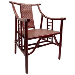 Set of Four Bamboo and Wicker Armchairs after Parzinger