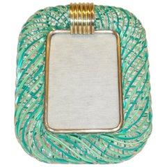 Venini 1970s Vintage Italian Green Filigrana Crystal Murano Glass Photo Frame