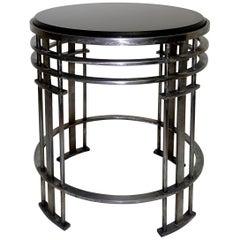 American Midcentury Round Steel Base and Black Granite Top Table