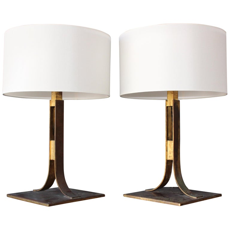 Pair of Midcentury Brass Lamps, Italy, 1960s