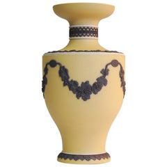 Jasper Vase in Buff with Black Ornament, Wedgwood, circa 1870