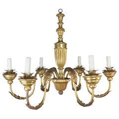 Six-Light Italian Gilt Wood and Metal Chandelier