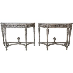 Pair of French Painted Louis XVI Style Carved Consoles, Antiqued Mirrored Tops