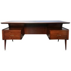 Italian Mid-Century Walnut Executive Desk attributed to Guglielmo Ulrich, 1950s