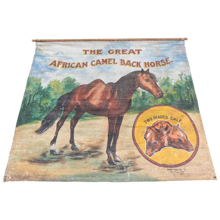 Vintage Late 19th Century Canvas Circus Carnival Midway Folk Art Sideshow Banner