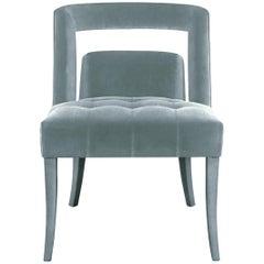 Brabbu Naj Dining Chair in Powder Blue Cotton Velvet