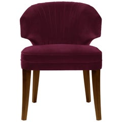 Brabbu Ibis Dining Chair in Maroon Cotton Velvet