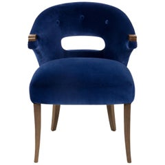 Brabbu Nanook Dining Chair in Blue Cotton Velvet with Wood Detail