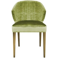 Brabbu Nuka Dining Chair in Light Green Cotton Velvet with Gold Finish Legs