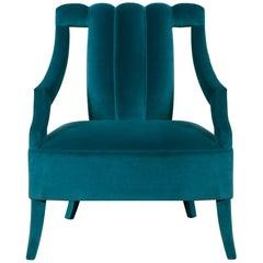 Brabbu Cayo Armchair in Teal Blue Cotton Velvet