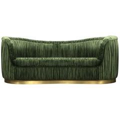Brabbu Dakota Sofa in Green Cotton Velvet with Brass Base