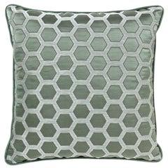 Brabbu Honeycomb Blue Pillow in Cotton-Linen Blend