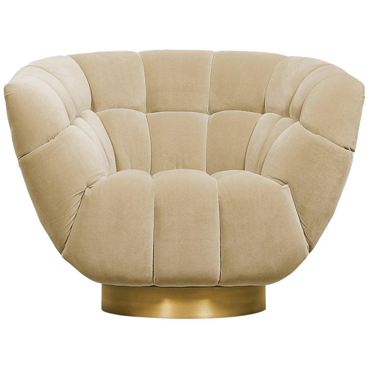 Essex Armchair in Cotton Velvet with Matte Brass Base