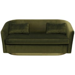 Brabbu Earth Sofa in Olive Green Cotton Velvet with Hammered Brass Base
