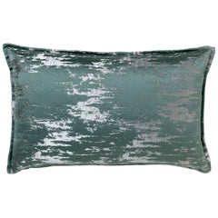 Brabbu Irupu Pillow in Teal and Silver Satin
