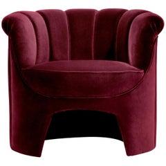 Brabbu Hera Armchair in Dark Red Cotton Velvet
