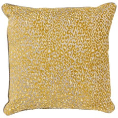 Brabbu Eclectic Pardus Pillow in Yellow Animal Print Twill