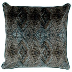 Brabbu Peafowl I Pillow in Blue Velvet