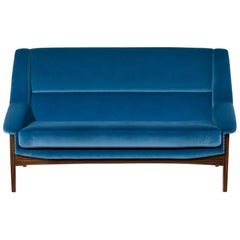 Brabbu Inca Sofa and Loveseat in Bright Blue Cotton Velvet with Wood Legs