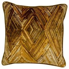 Brabbu Peafowl II Pillow in Yellow Velvet