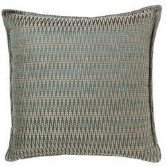 Brabbu Timberline Pillow in Blue and Beige Cotton-Linen Blend