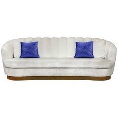 Brabbu Pearl Sofa in Ivory Cotton Velvet with Brass Base