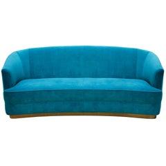 Brabbu Saari Sofa in Bright Blue Cotton Velvet with Brass Base