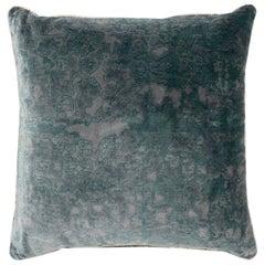 Brabbu Eclectic Wallingford Pillow in Blue and Gray Velvet
