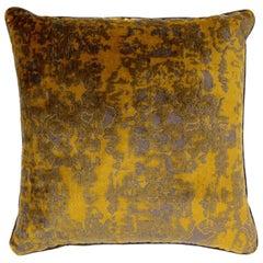 Brabbu Eclectic Wallingford Pillow in Yellow and Gray Velvet